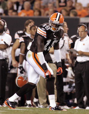 CLEVELAND - SEPTEMBER 2: Carlton Mitchell #18 of the Cleveland Browns waits for the snap against the Chicago Bears during the preseason game on September 2, 2010 at Cleveland Browns Stadium in Cleveland, Ohio. The Browns defeated the Bears 13-10. (Photo b