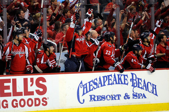WASHINGTON, DC - MAY 01:  Alex Ovechkin #8 of the Washington Capitals and the bench celebrate a Capitals goal in the second period against the Tampa Bay Lightning during Game Two of the Eastern Conference Semifinal during the 2011 NHL Stanley Cup Playoffs