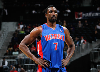 ATLANTA - NOVEMBER 03:  Ben Gordon #7 of the Detroit Pistons against the Atlanta Hawks at Philips Arena on November 3, 2010 in Atlanta, Georgia.  NOTE TO USER: User expressly acknowledges and agrees that, by downloading and/or using this Photograph, User