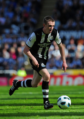 NEWCASTLE UPON TYNE, ENGLAND - MAY 22:  Newcastle player Shane Ferguson in action during the Barclays Premier League game between Newcastle United and West Bromwich Albion at St James' Park on May 22, 2011 in Newcastle upon Tyne, England.  (Photo by Stu F
