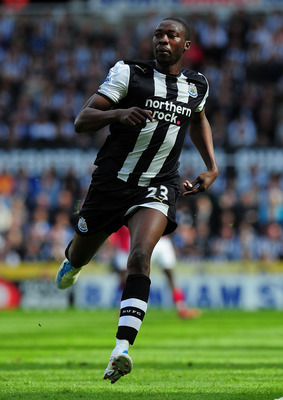 NEWCASTLE UPON TYNE, ENGLAND - MAY 22:  Newcastle player Shola Ameobi in action during the Barclays Premier League game between Newcastle United and West Bromwich Albion at St James' Park on May 22, 2011 in Newcastle upon Tyne, England.  (Photo by Stu For