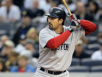 NEW YORK, NY - MAY 14:  Adrian Gonzalez #28 of the Boston Red Sox bats against the New York Yankees on May 14, 2011 at Yankee Stadium in the Bronx borough of New York City.  (Photo by Jim McIsaac/Getty Images)