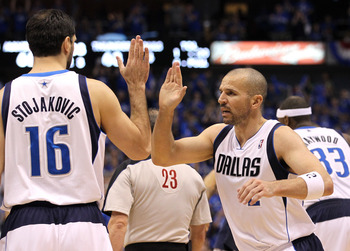 DALLAS, TX - MAY 25:  Jason Kidd #2 and Peja Stojakovic #16 of the Dallas Mavericks react in the third quarter while taking on the Oklahoma City Thunder in Game Five of the Western Conference Finals during the 2011 NBA Playoffs at American Airlines Center