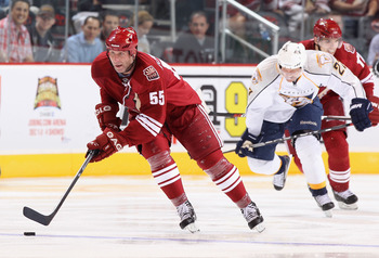 GLENDALE, AZ - NOVEMBER 03:  Ed Jovanovski #55 of the Phoenix Coyotes skates with the puck during the NHL game against the Nashville Predators at Jobing.com Arena on November 3, 2010 in Glendale, Arizona. The Coyotes defeated the Predators 4-3.  (Photo by