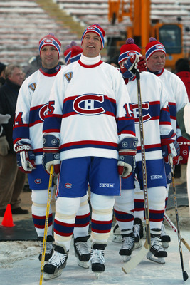 EDMONTON, CANADA - NOVEMBER 22:  Bobby Smith #15 of the Montreal Canadiens looks on prior to taking on the Edmonton Oilers in the Molson Canadien Heritage Classic Megastars Game on November 22, 2003 at Commonwealth Stadium in Edmonton, Canada. (Photo by J