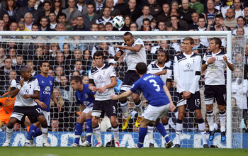LONDON, ENGLAND - OCTOBER 23:  Leighton Baines of Everton scores the first goal from a freekick during the Barclays Premier League match between Tottenham Hotspur and Everton at White Hart Lane on October 23, 2010 in London, England.  (Photo by Richard He