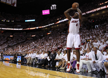 MIAMI, FL - MAY 31:  LeBron James #6 of the Miami Heat shoots a three-pointer while taking on the Dallas Mavericks in Game One of the 2011 NBA Finals at American Airlines Arena on May 31, 2011 in Miami, Florida. NOTE TO USER: User expressly acknowledges a
