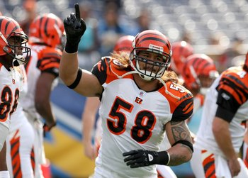 SAN DIEGO - DECEMBER 20:  Linebacker Rey Maualuga #58 of the Cincinnati Bengals on the field in warmups against the San Diego Chargers on December 20, 2009 at Qualcomm Stadium in San Diego, California.  The Chargers won 27-24.  (Photo by Stephen Dunn/Gett