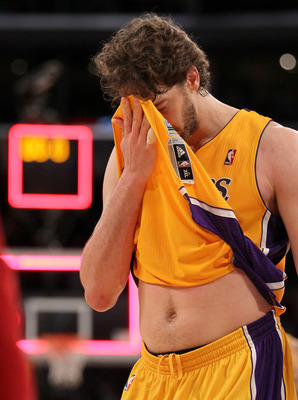 LOS ANGELES, CA - MAY 04:  Pau Gasol #16 of the Los Angeles Lakers walks off the court after the Dallas Mavericks defeated the Lakers 93-81 in Game Two of the Western Conference Semifinals in the 2011 NBA Playoffs at Staples Center on May 4, 2011 in Los A