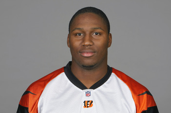 CINCINNATI, OH - CIRCA 2010: In this handout image provided by the NFL, Carlos Dunlap of the Cincinnati Bengals poses for his 2010 NFL headshot circa 2010 in Cincinnati, Ohio.  (Photo by NFL via Getty Images)