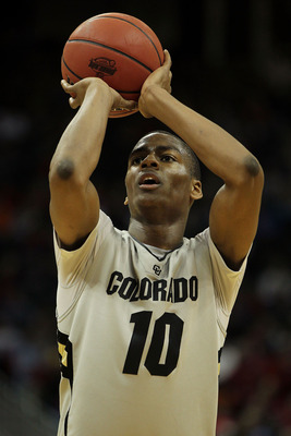KANSAS CITY, MO - MARCH 09:  Alec Burks #10 of the Colorado Buffaloes shoots a free throw againet the Iowa State Cyclones during the first round of the 2011 Phillips 66 Big 12 Men's Basketball Tournament at Sprint Center on March 9, 2011 in Kansas City, M
