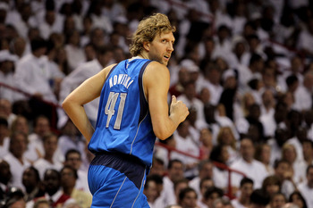 MIAMI, FL - MAY 31:  Dirk Nowitzki #41 of the Dallas Mavericks runs back down court in the first half while taking on the Miami Heat in Game One of the 2011 NBA Finals at American Airlines Arena on May 31, 2011 in Miami, Florida. NOTE TO USER: User expres