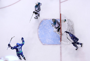 Just after Bieksa's crazy goal crosses the goal line.