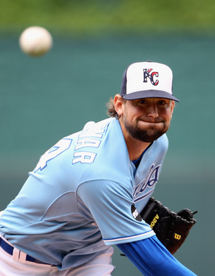 KANSAS CITY, MO - MAY 30:  Starting pitcher Luke Hochevar #44  of the Kansas City Royals warms up just prior to the start of the game against the Los Angeles Angels of Anaheim on May 30, 2011 at Kauffman Stadium in Kansas City, Missouri.  (Photo by Jamie