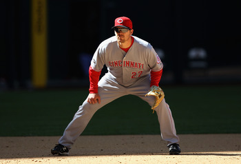 PHOENIX, AZ - APRIL 10:  Infielder Scott Rolen #27 of the Cincinnati Reds in action during the Major League Baseball game against the Arizona Diamondbacks at Chase Field on April 10, 2011 in Phoenix, Arizona.  The Diamondbacks defeated the Reds 10-8.  (Ph