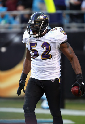 CHARLOTTE, NC - NOVEMBER 21:  Ray Lewis #52 of the Baltimore Ravens celebrates after scoring a touchdown against the Carolina Panthers at Bank of America Stadium on November 21, 2010 in Charlotte, North Carolina.  (Photo by Streeter Lecka/Getty Images)
