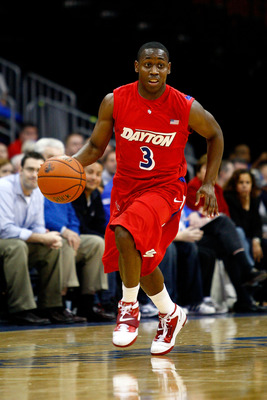 NEWARK, NJ - DECEMBER 22:  Juwan Staten #3 of the Dayton Flyers brings the ball up court against the Seton Hall Pirates at Prudential Center on December 22, 2010 in Newark, New Jersey. Dayton won 69-65.  (Photo by Chris Chambers/Getty Images)