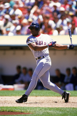 OAKLAND, CA - JUNE 29:  Bo Jackson #22 of the California Angels swings during a game against the Oakland Athletics at Network Associates Coliseum on June 29, 1994 in Oakland, California. (Photo by Otto Greule Jr/Getty Images)