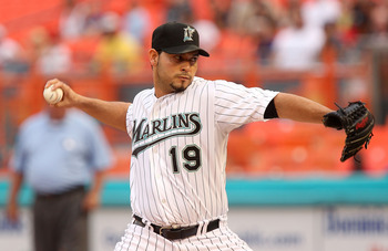 MIAMI GARDENS, FL - MAY 20: Anibal Sanchez #19 of the Florida Marlins pitches during a game against the Tampa Bay Rays at Sun Life Stadium on May 20, 2011 in Miami Gardens, Florida. (Photo by Mike Ehrmann/Getty Images)