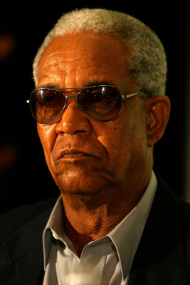 BASSETERRE, ST  KITTS AND NEVIS - MARCH 19:  Sir Garfield Sobers talks to the media during a Press Conference and Cheque Presentation at The St Kitts and Nevis Marriot Resort on March 19, 2007 in Basseterre, St Kitts and Nevis.  (Photo by Shaun Botterill/