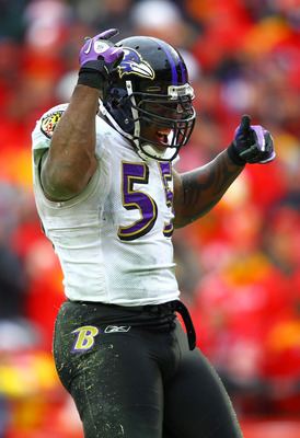 KANSAS CITY, MO - JANUARY 09:  Linebacker Terrell Suggs #55 of the Baltimore Ravens celebrates a play during their 2011 AFC wild card playoff game against the Kansas City Chiefs at Arrowhead Stadium on January 9, 2011 in Kansas City, Missouri.  (Photo by
