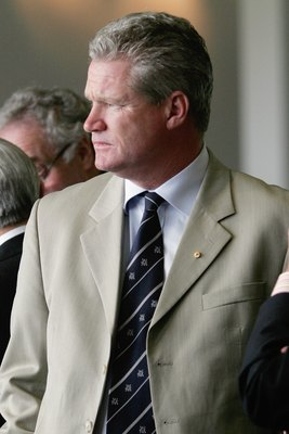 MELBOURNE, AUSTRALIA - DECEMBER 26:  Dean Jones looks on during day one of the fourth Ashes Test Match between Australia and England at the Melbourne Cricket Ground on December 26, 2006 in Melbourne, Australia.  (Photo by Michael Willson/Getty Images)