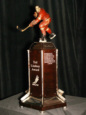 LAS VEGAS - JUNE 22: The newly named Ted Lindsay trophy (formerly the Lester B. Pearson award) is displayed at the Palms Casino Resort on June 22, 2010 in Las Vegas, Nevada. (Photo by Bruce Bennett/Getty Images)