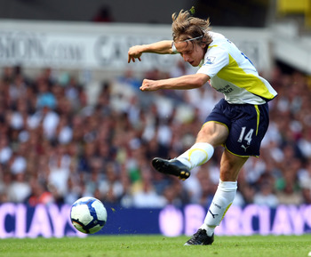 LONDON, ENGLAND - AUGUST 29:  Luka Modric of Tottenham Hotspur in action during the Barclays Premier League match between Tottenham Hotspur and Birmingham City at White Hart Lane on August 29, 2009 in London, England.  (Photo by Clive Rose/Getty Images)
