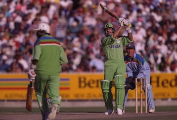 1992:  Imran Khan captain of Pakistan , in batting action during the final of the Cricket World Cup between Pakistan and England at the MCG in Melbourne.  The wicketkeeper is Alec Stewart and the non-striking batsman is Javed Miandad.  Pakistan won the ma