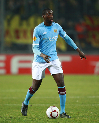 THESSALONIKI, GREECE - FEBRUARY 15:  Yaya Toure of Manchester City in action during the first leg round of 32 Europa League match between Aris Saloniki and Manchester City  at Kleanthis Vikelidis stadium on February 15, 2011 in Thessaloniki, Greece.  (Pho
