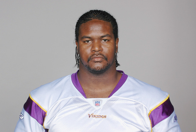 EDEN PRAIRIE, MN - CIRCA 2010:  In this handout image provided by the NFL,  Bryant McKinnie poses for his 2010 NFL headshot circa 2010 in Eden Prairie, Minnesota.   (Photo by NFL via Getty Images)