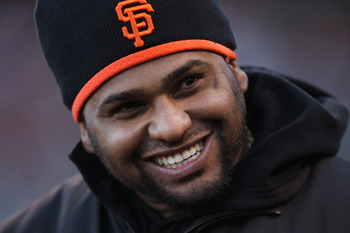 SAN FRANCISCO, CA - MAY 11:  Pablo Sandoval #48 of the San Francisco Giants sstands in the dugout before their game against the Arizona Diamondbacks at AT&T Park on May 11, 2011 in San Francisco, California.  (Photo by Ezra Shaw/Getty Images)