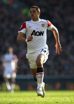 LIVERPOOL, ENGLAND - MARCH 06:  Chicharito of Manchester United in action during the Barclays Premier League match between Liverpool and Manchester United at Anfield on March 6, 2011 in Liverpool, England.  (Photo by Alex Livesey/Getty Images)