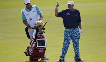 PLAYA DEL CARMEN, MEXICO - FEBRUARY 24:  John Daly pulls a club from his golf bag during the first round of the Mayakoba Golf Classic at Riviera Maya-Cancun held at El Camaleon Golf Club on February 24, 2011 in Playa del Carmen, Mexico.  (Photo by Michael