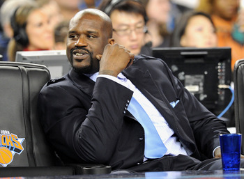 ARLINGTON, TX - FEBRUARY 14:  NBA player Shaquille O'Neal in the audience during the NBA All-Star Game held at Cowboys Stadium on February 14, 2010 in Arlington, Texas.  (Photo by Jason Merritt/Getty Images)
