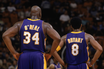 30 Jan 2002:  This is a close up of center Shaquille O''Neal (L) #34 of the Los Angeles Lakers and his teammate, guard Kobe Bryant (R). The picture was taken during the NBA game against the Orlando Magic at the TD Waterhouse in Orlando, Florida.  The Lake