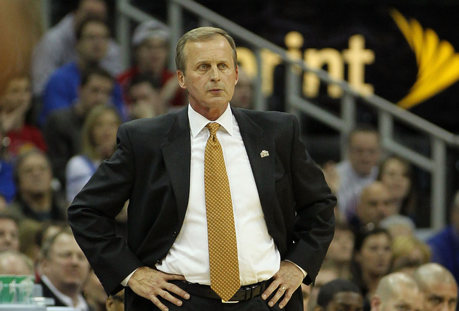 KANSAS CITY, MO - MARCH 12:  Head coach Rick Barnes of the Texas Longhorns looks on against the Kansas Jayhawks during the 2011 Phillips 66 Big 12 Men's Basketball Tournament championship game at Sprint Center on March 12, 2011 in Kansas City, Missouri.