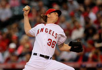 ANAHEIM, CA - MAY 07:  Jered Weaver #36 of the Los Angeles Angels of Anaheim throws a pitch against the Cleveland Indians on May 7, 2011 at Angel Stadium in Anaheim, California.  (Photo by Stephen Dunn/Getty Images)