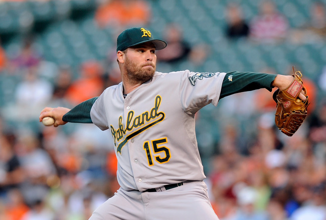 BALTIMORE - JUNE 30:  Ben Sheets #15 of the Oakland Athletics pitches against the Baltimore Orioles at Camden Yards on June 30, 2010 in Baltimore, Maryland.  (Photo by Greg Fiume/Getty Images)