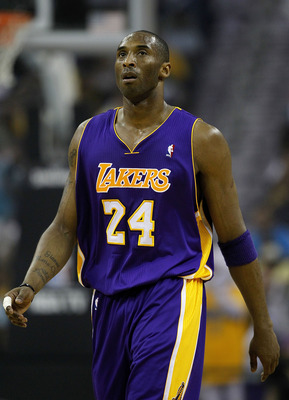 NEW ORLEANS, LA - APRIL 24:  Kobe Bryant #24 of the Los Angeles Lakers stands during a freethrow against the New Orleans Hornets in Game Four of the Western Conference Quarterfinals in the 2011 NBA Playoffs at New Orleans Arena on April 24, 2011 in New Or