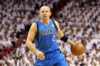 MIAMI, FL - MAY 31:  Jason Kidd #2 of the Dallas Mavericks looks to pass against the Miami Heat in Game One of the 2011 NBA Finals at American Airlines Arena on May 31, 2011 in Miami, Florida. NOTE TO USER: User expressly acknowledges and agrees that, by