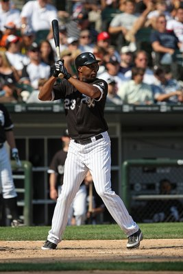 CHICAGO - AUGUST 06:  Jermaine Dye #23 of the Chicago White Sox against the Los Angeles Angels of Anaheim at U.S. Cellular Field on August 6, 2009 in Chicago, Illinois. The Angels won 9-5.  (Photo by Jonathan Daniel/Getty Images)