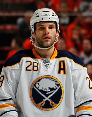 PHILADELPHIA, PA - APRIL 16:  Paul Gaustad #28 of the Buffalo Sabres waits for a faceoff against the Philadelphia Flyers in Game Two of the Eastern Conference Quarterfinals during the 2011 NHL Stanley Cup Playoffs at Wells Fargo Center on April 16, 2011 i