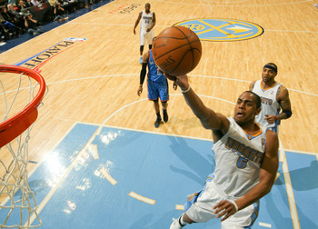 DENVER, CO - APRIL 23:  Arron Afflalo #6 of the Denver Nuggets scores agains the Oklahoma City Thunder in Game Three of the Western Conference Quarterfinals in the 2011 NBA Playoffs at Pepsi Center on April 23, 2011 in Denver, Colorado. NOTE TO USER: User