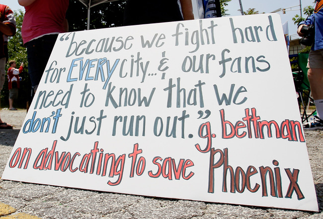 ATLANTA, GA - MAY 21:  A sign displayed outside Philips Arena shows a quote by NHL Commissioner Gary Bettman on his comment about keeping the Phoenix Coyotes in Phoenix as fans hold a rally to keep the Thrashers in Atlanta at Philips Arena on May 21, 2011
