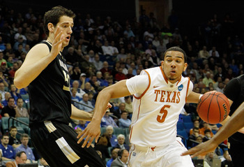 TULSA, OK - MARCH 18:  Cory Joseph #5 of the Texas Longhorns drives with the ball against Ilija Milutinovic #50 of the Oakland Golden Grizzlies during the second round of the 2011 NCAA men's basketball tournament at BOK Center on March 18, 2011 in Tulsa,