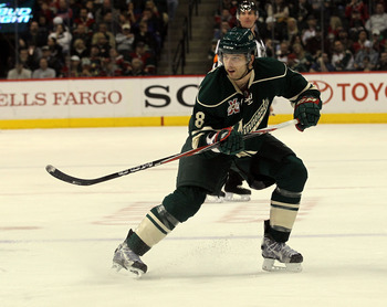ST PAUL, MN - MARCH 22:  Brent Burns #8 of the Minnesota Wild skates against the Toronto Maple Leafs at the Xcel Energy Center on March 22, 2011 in St Paul, Minnesota.  (Photo by Bruce Bennett/Getty Images)