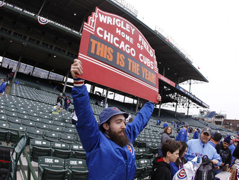 CHICAGO, IL - APRIL 01:  A fan showes his support after entering the stadium prior to the Chicago Cubs playing the Pittsburgh Pirates on opening day at Wrigley Field on April 1, 2011 in Chicago, Illinois.  (Photo by Gregory Shamus/Getty Images)