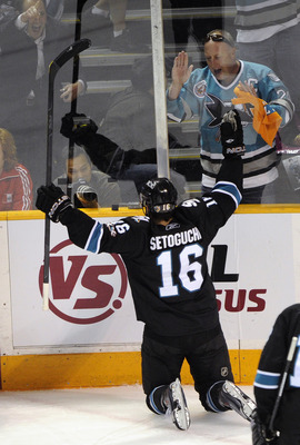 SAN JOSE, CA - MAY 12: Devin Setoguchi #16 of the San Jose Sharks celebrates after scoring a goal in the first period against the Detroit Red Wings in Game Seven of the Western Conference Semifinals  during the 2011 NHL Stanley Cup Playoffs at the HP Pavi