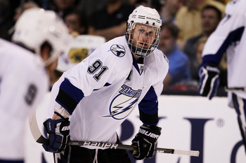 BOSTON, MA - MAY 27:  Steven Stamkos #91 of the Tampa Bay Lightning returns to the game after being hit in the face with a puck in Game Seven of the Eastern Conference Finals against the Boston Bruins during the 2011 NHL Stanley Cup Playoffs at TD Garden
